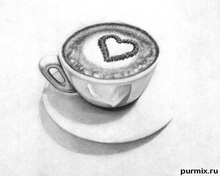 How to draw a cappuccino cup with a simple pencil step by step
