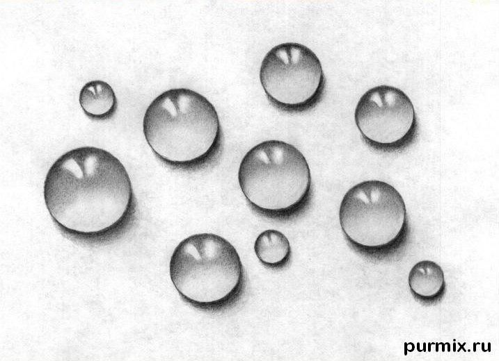 How to draw drops with a simple pencil step by step