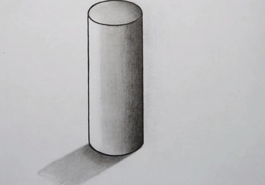 How to draw the cylinder with a simple pencil on paper