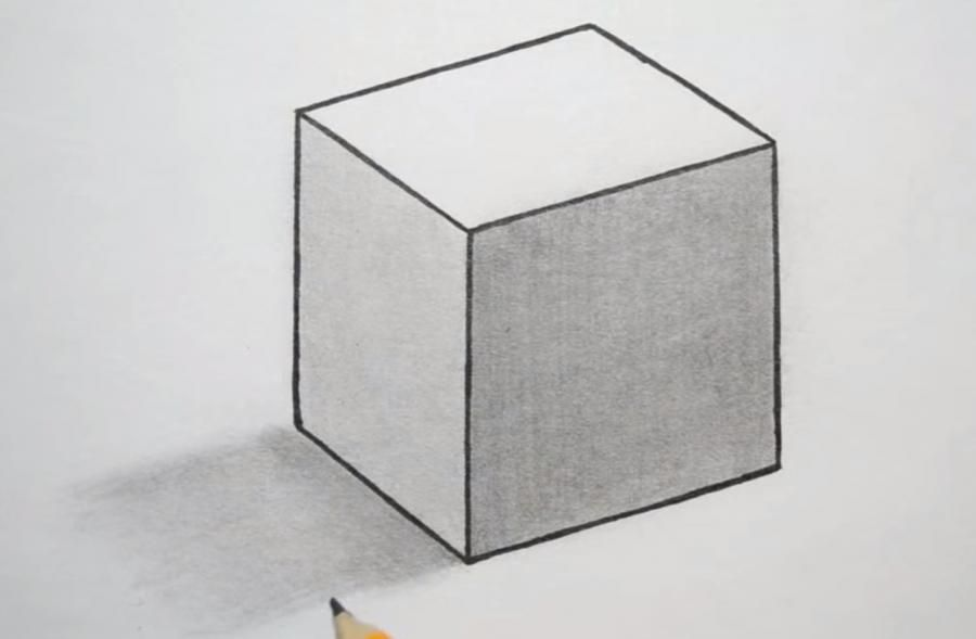 How to draw a cube with a pencil on paper step by step