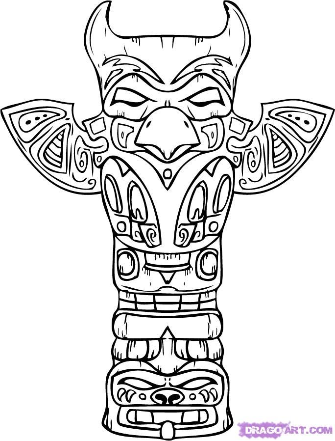 How to draw a totemic column with a pencil on paper