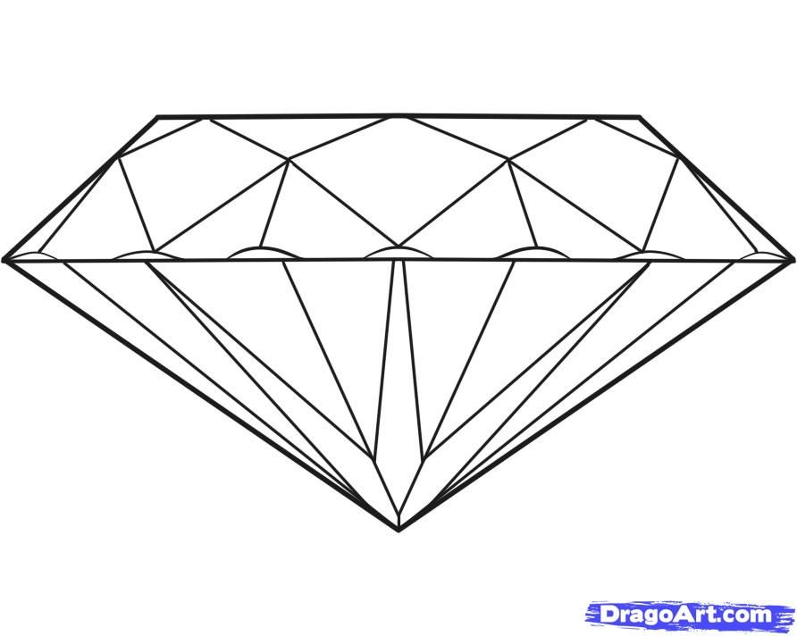 How to draw Diamond with a pencil step by step