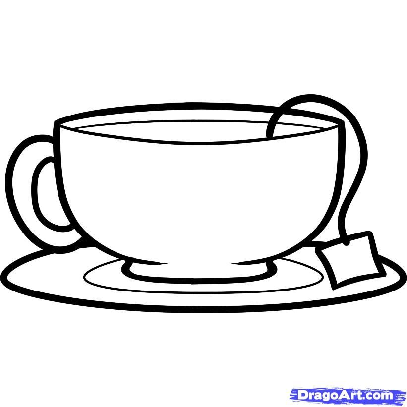 How to draw a cup with tea a pencil step by step