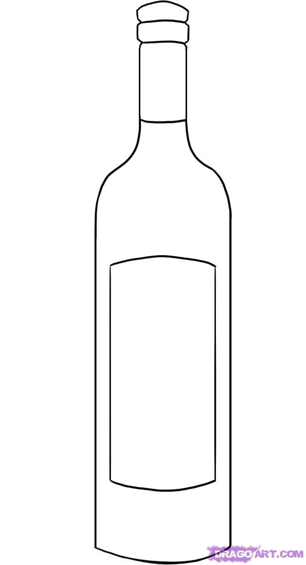 How to draw a wine bottle with a pencil step by step