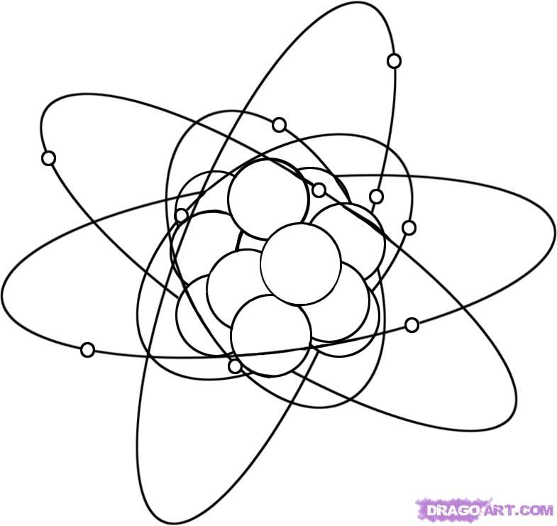 How to draw Atom with a pencil step by step