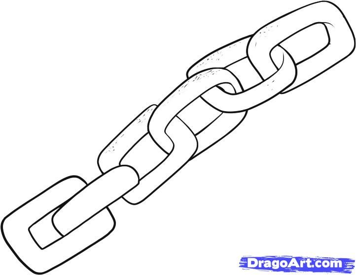 How to draw the Chain with a pencil step by step