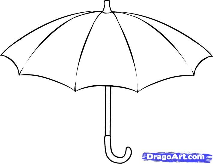 How to draw the Umbrella with a pencil step by step