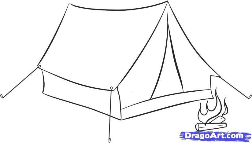 How to draw Tent with a pencil step by step