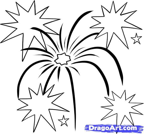 How to draw Fireworks with a pencil step by step