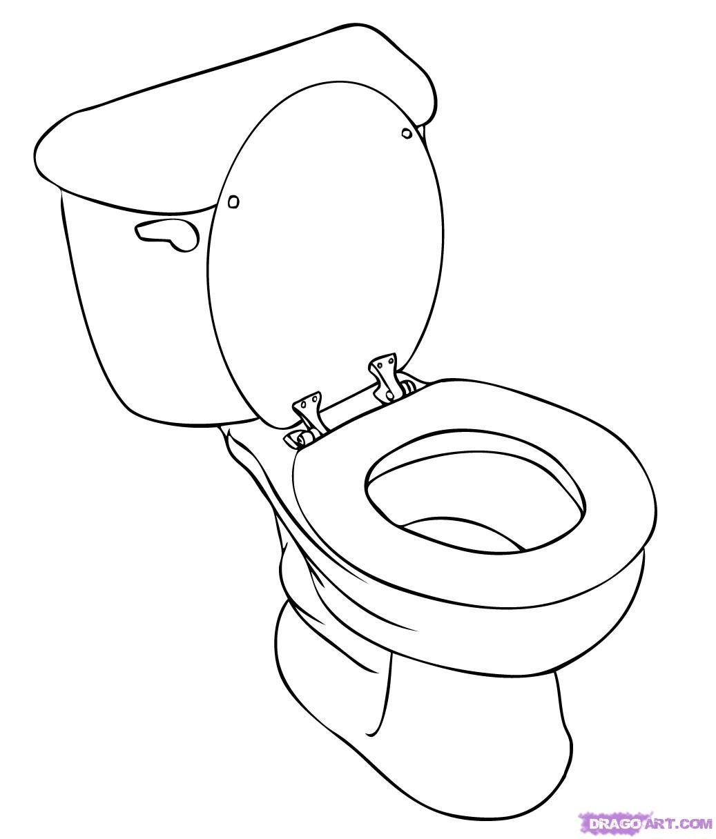 How to draw the Toilet bowl with a pencil step by step