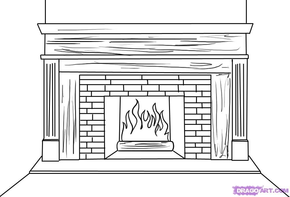 How to draw the Fireplace with a pencil step by step