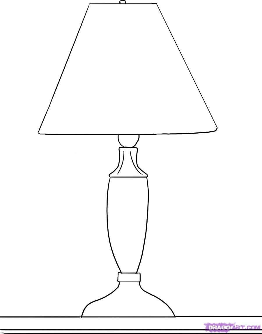 How to draw a desk lamp with a pencil step by step