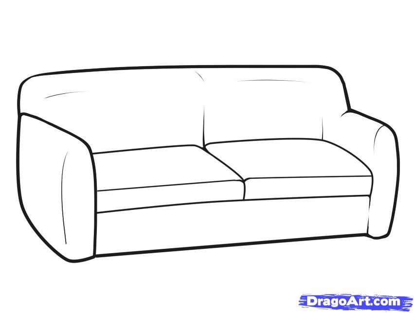How to draw the Sofa with a pencil step by step