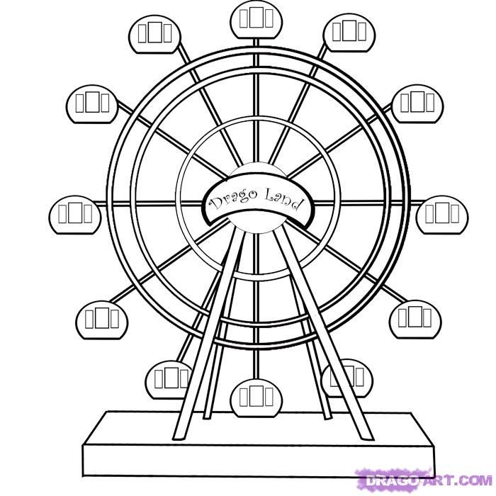 How to draw the Big wheel with a pencil step by step