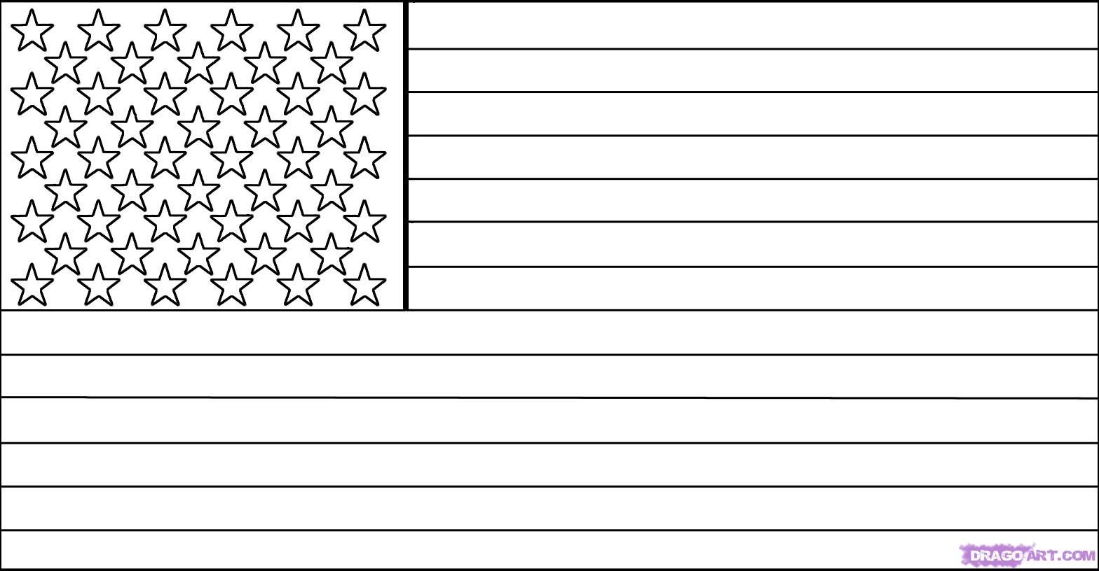 How to draw a flag of America (USA) with a pencil step by step