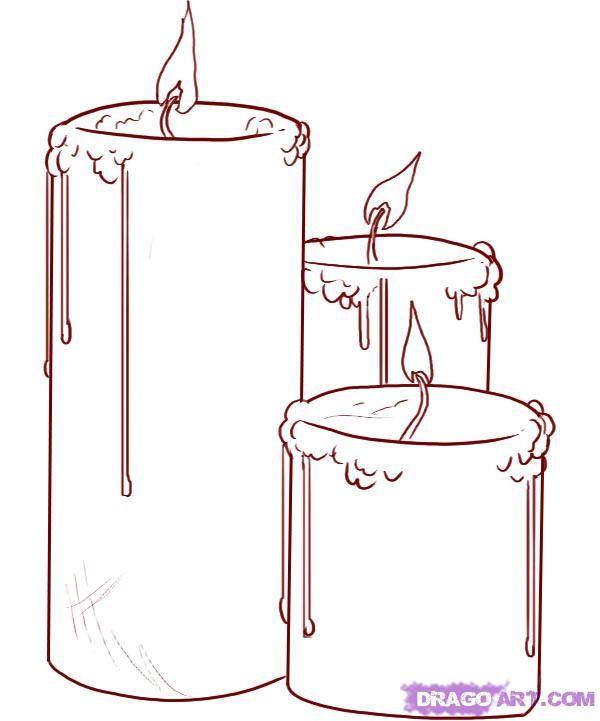 How to draw three Candles step by step