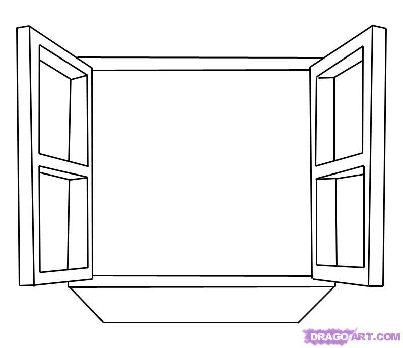 How to draw an open Window step by step