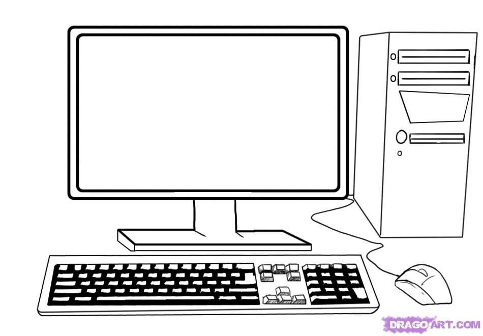 How to draw the computer (the system unit, the monitor, a mouse, the keyboard) step by step