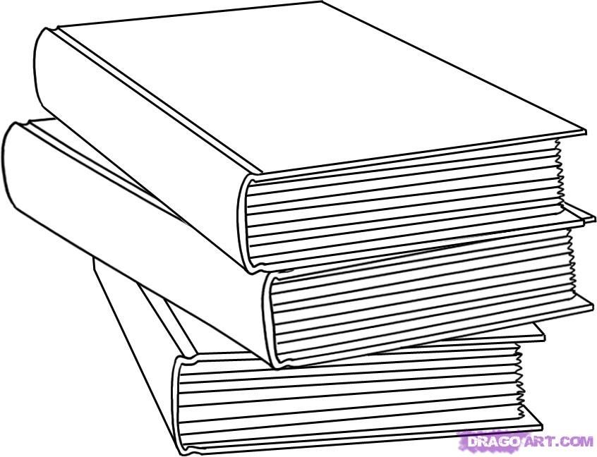 How to draw a pile from three books with a pencil step by step