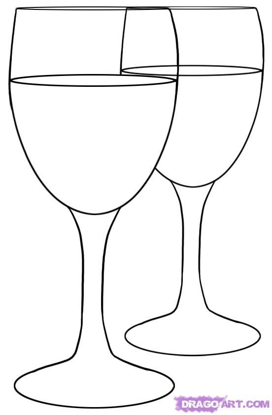 How to draw two Glasses with a pencil step by step