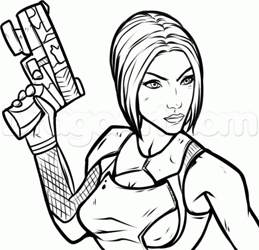 How to draw Maya from the game Borderlands (Border zone) with a pencil