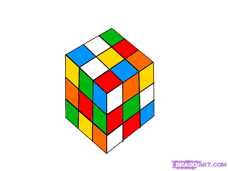 How to draw the Cube Rubik with a pencil step by step