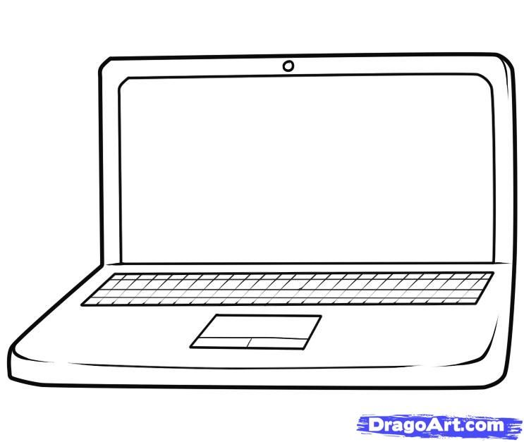 How to draw the Laptop with a pencil step by step