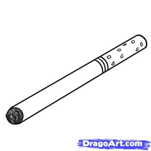 How to draw the Cigarette with a pencil step by step