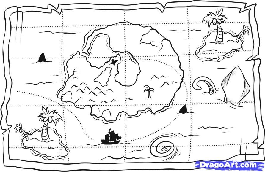 How to draw the Treasure map a pencil step by step