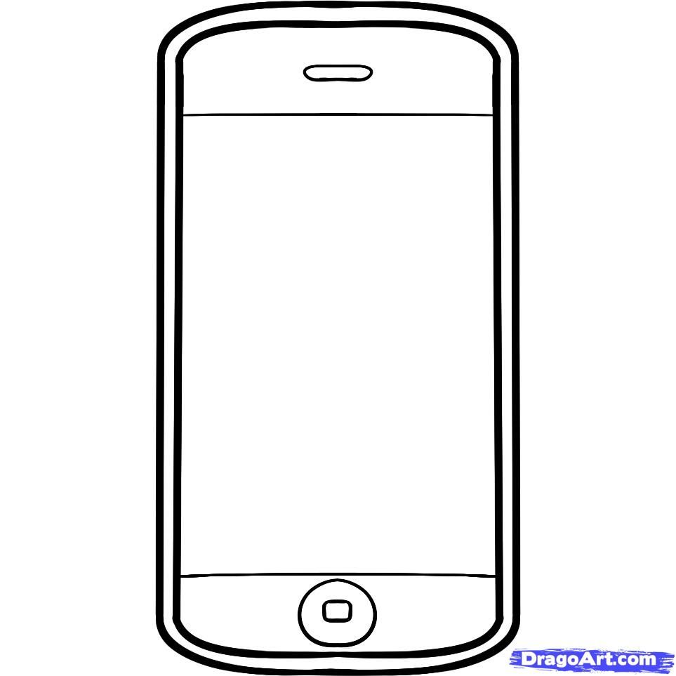 How to draw iPhone phone with a pencil step by step