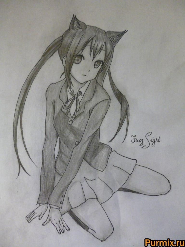 ?Como dibujar Adzusu Nakano de anime K-on! Por el l?piz simple