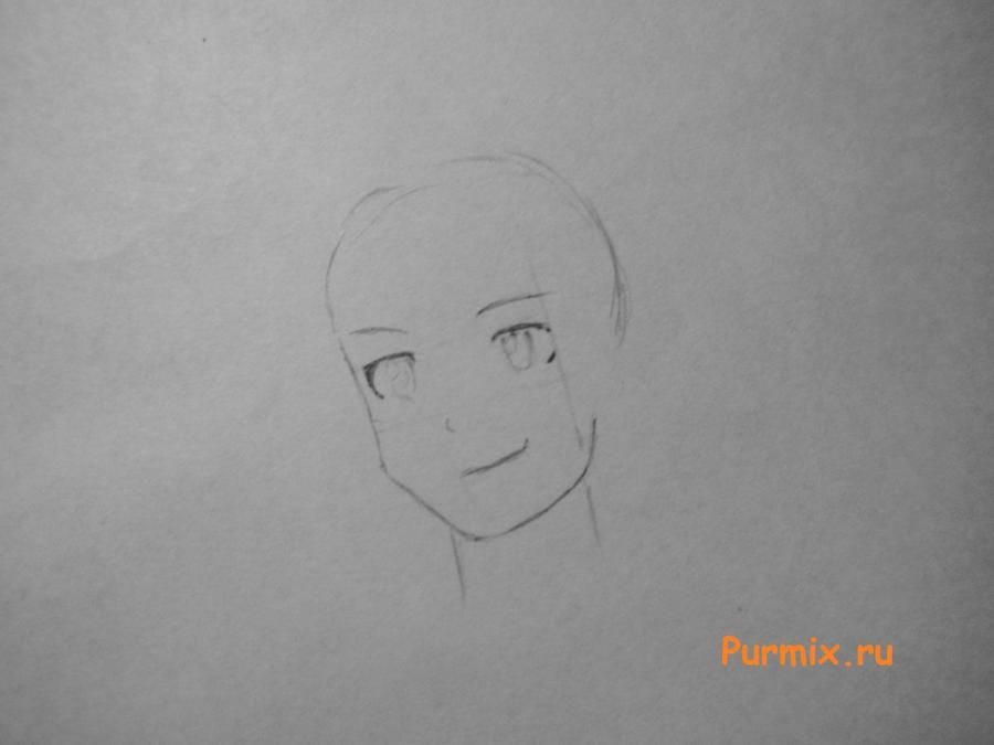 How to draw Gasay in a New Year's suit from an anime the Diary of the future Is young 3
