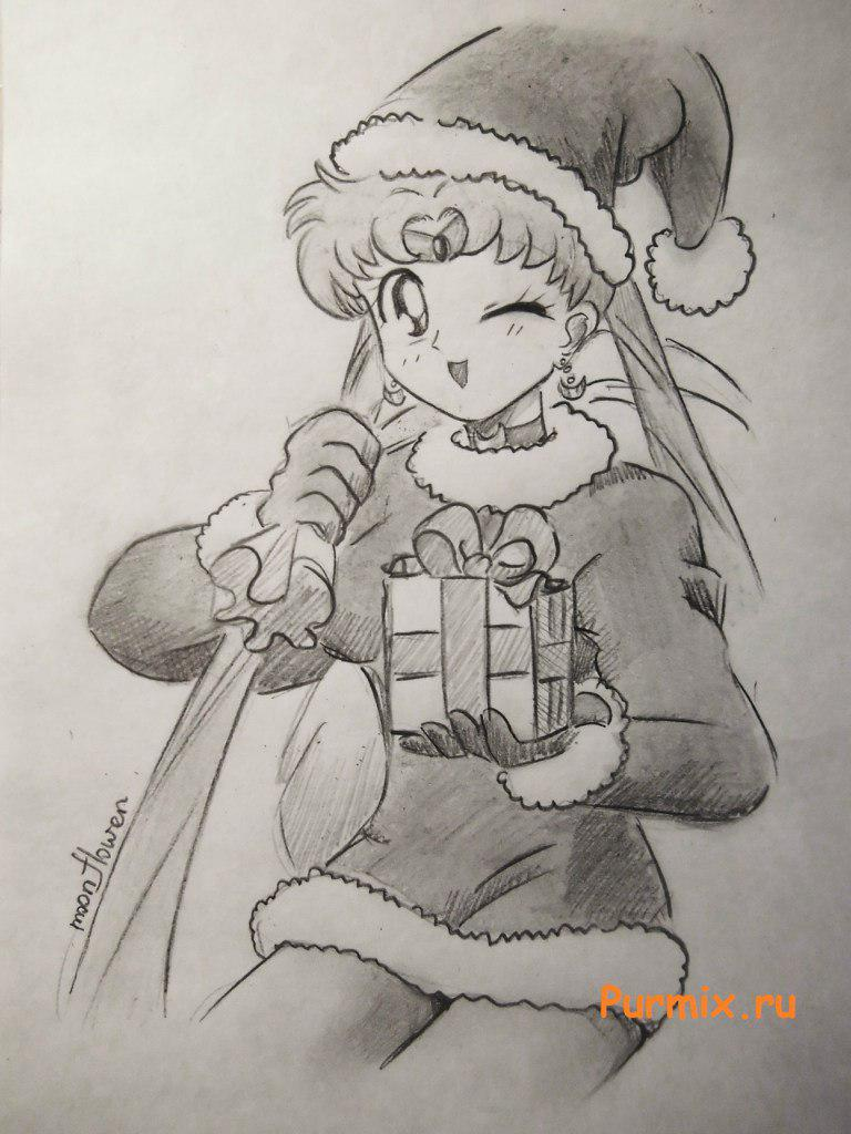 How to draw Sailor Moon in Santa's suit with a pencil on paper