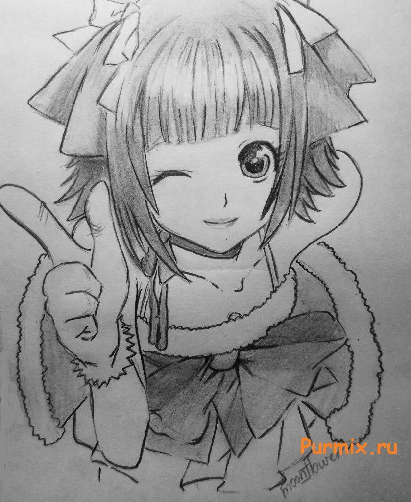 How to draw the girl winking an anime with a pencil on paper