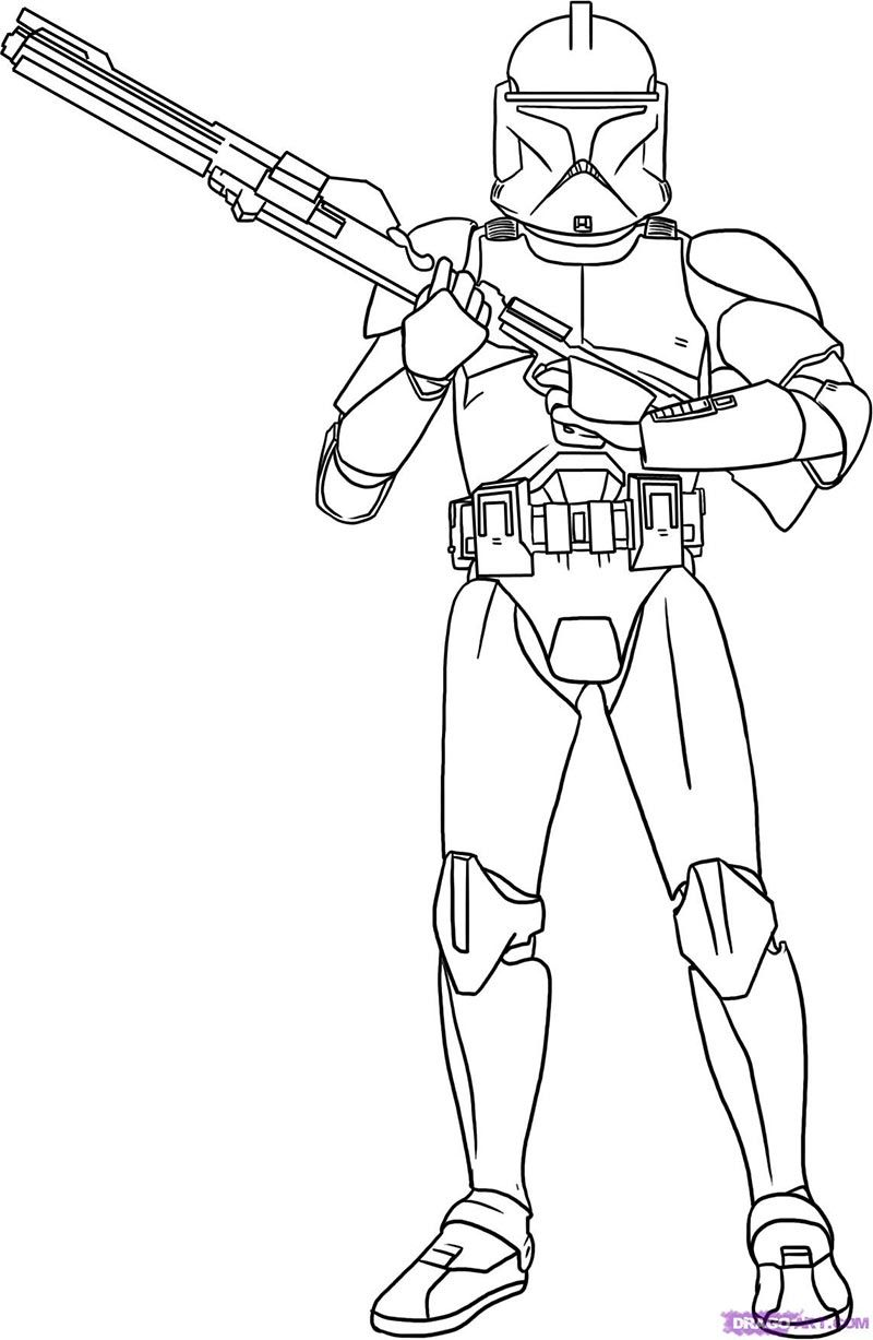 How to draw the Soldier clone from Star Wars with a pencil step by step