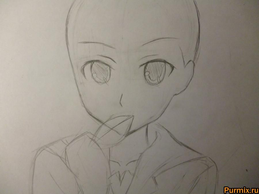 How to draw Mero Furuyu from Sank Rea's anime with a pencil 3