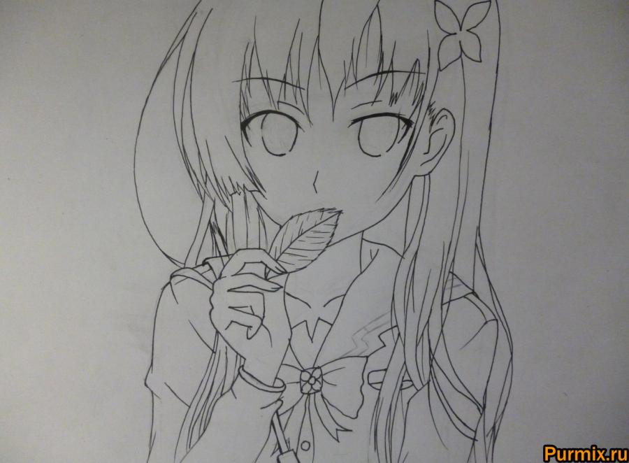 How to draw Mero Furuyu from Sank Rea's anime with a pencil 5