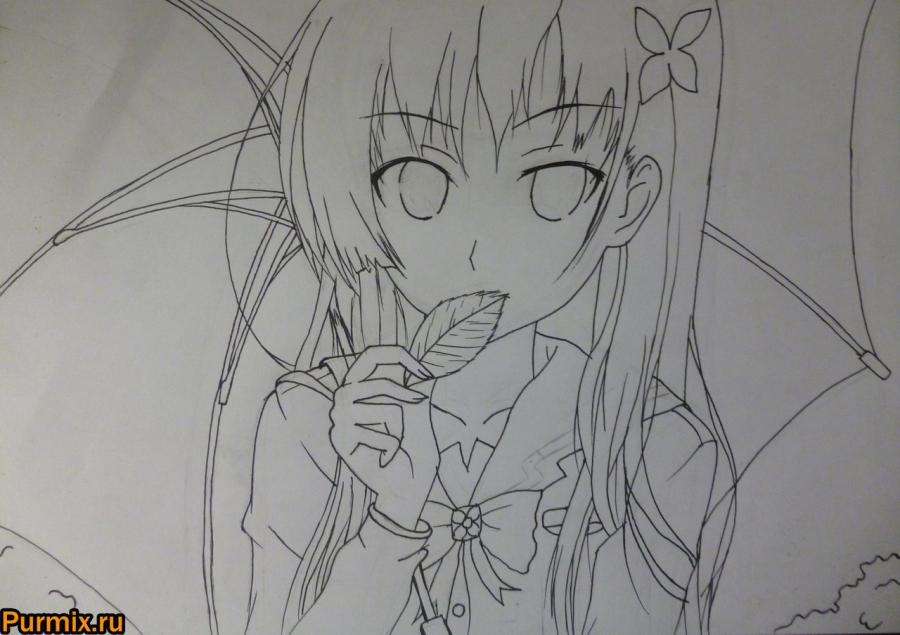 How to draw Mero Furuyu from Sank Rea's anime with a pencil 6