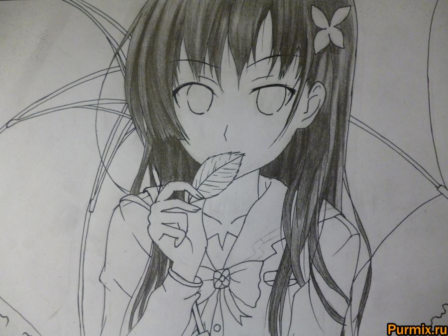 How to draw Mero Furuyu from Sank Rea's anime with a pencil 7