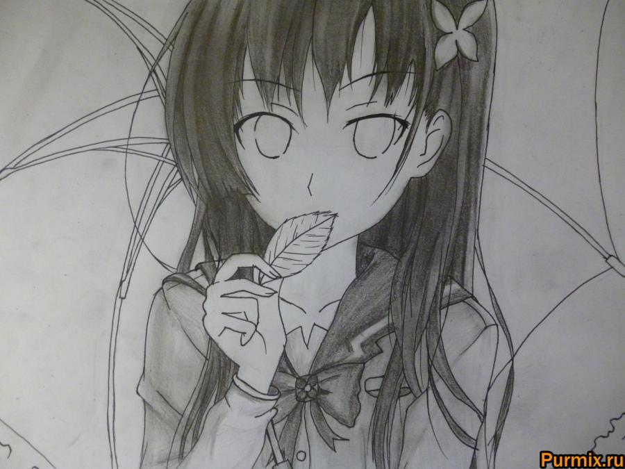 How to draw Mero Furuyu from Sank Rea's anime with a pencil 8