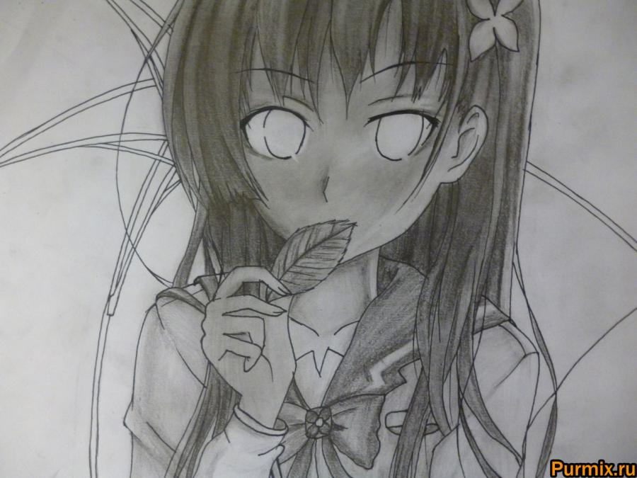 How to draw Mero Furuyu from Sank Rea's anime with a pencil 9