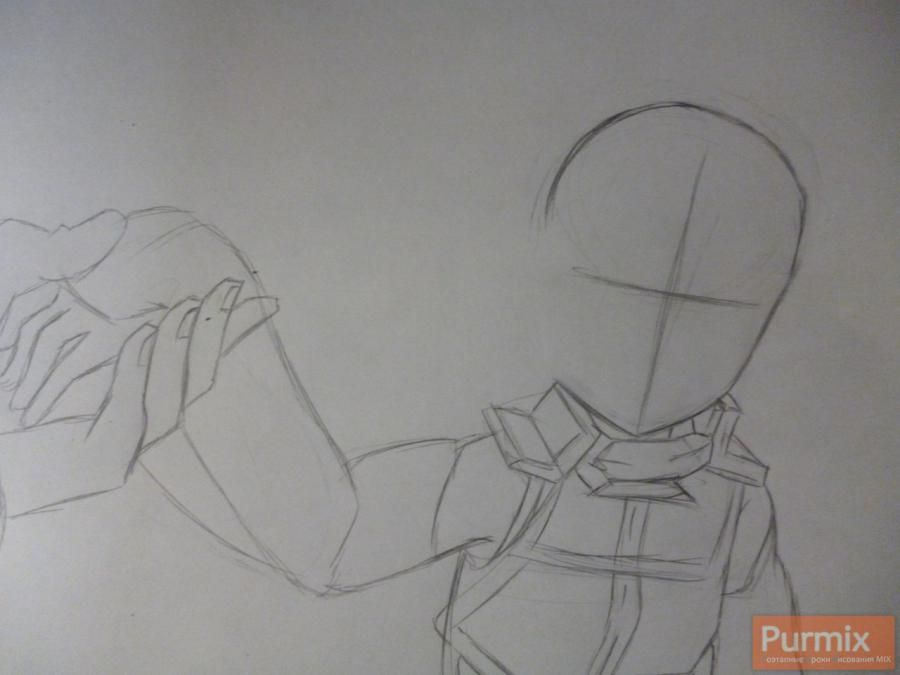 How to draw Naotsugu from an anime the Ravine the Horizon with a pencil 2