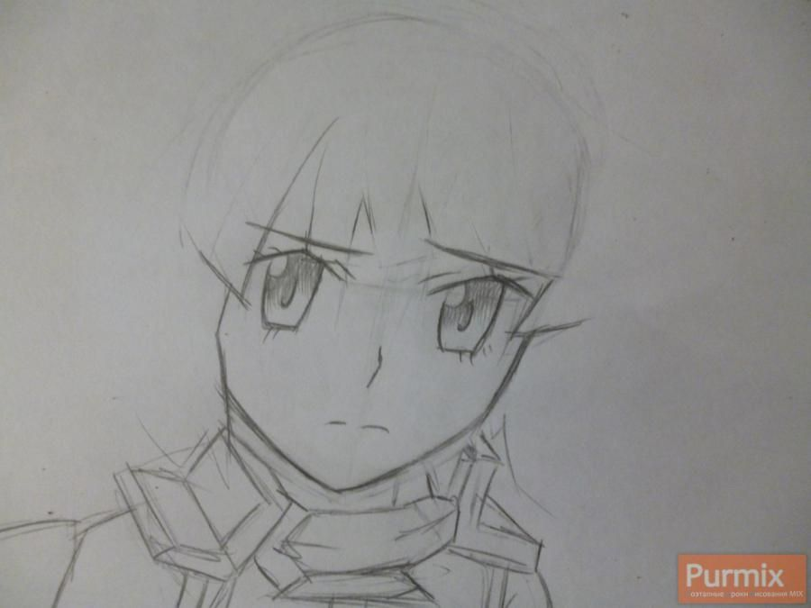 How to draw Naotsugu from an anime the Ravine the Horizon with a pencil 3