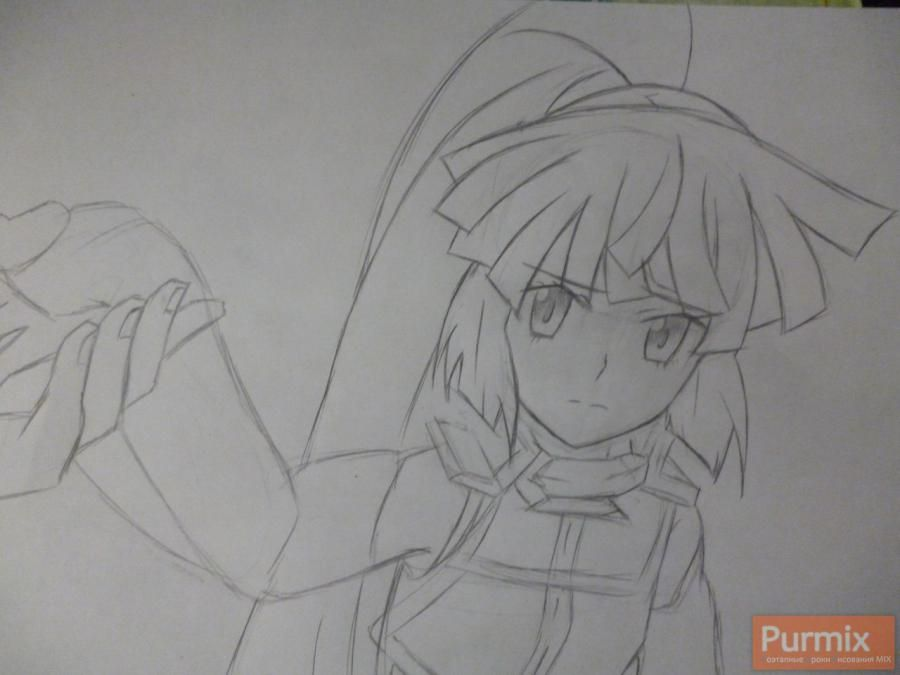 How to draw Naotsugu from an anime the Ravine the Horizon with a pencil 4