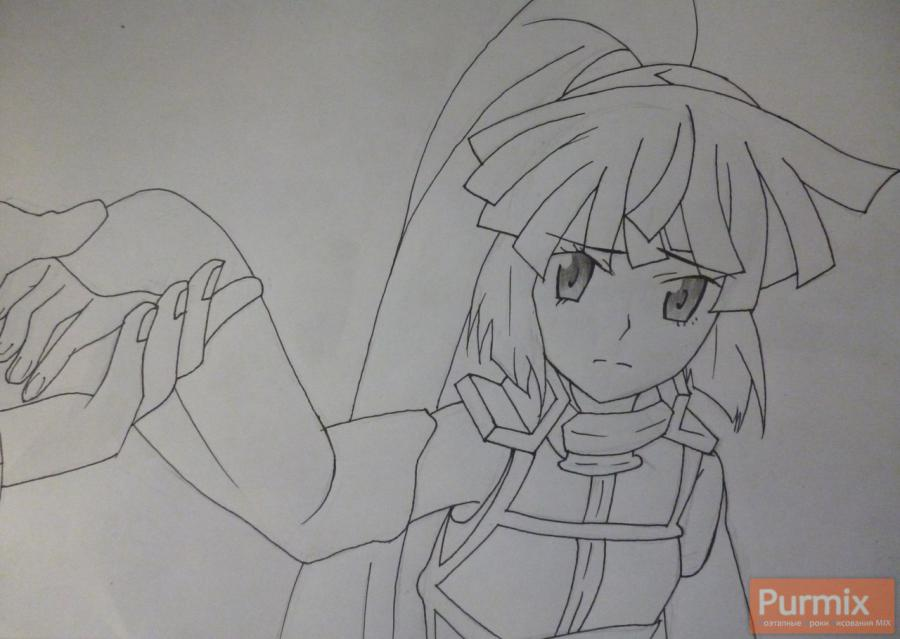 How to draw Naotsugu from an anime the Ravine the Horizon with a pencil 5