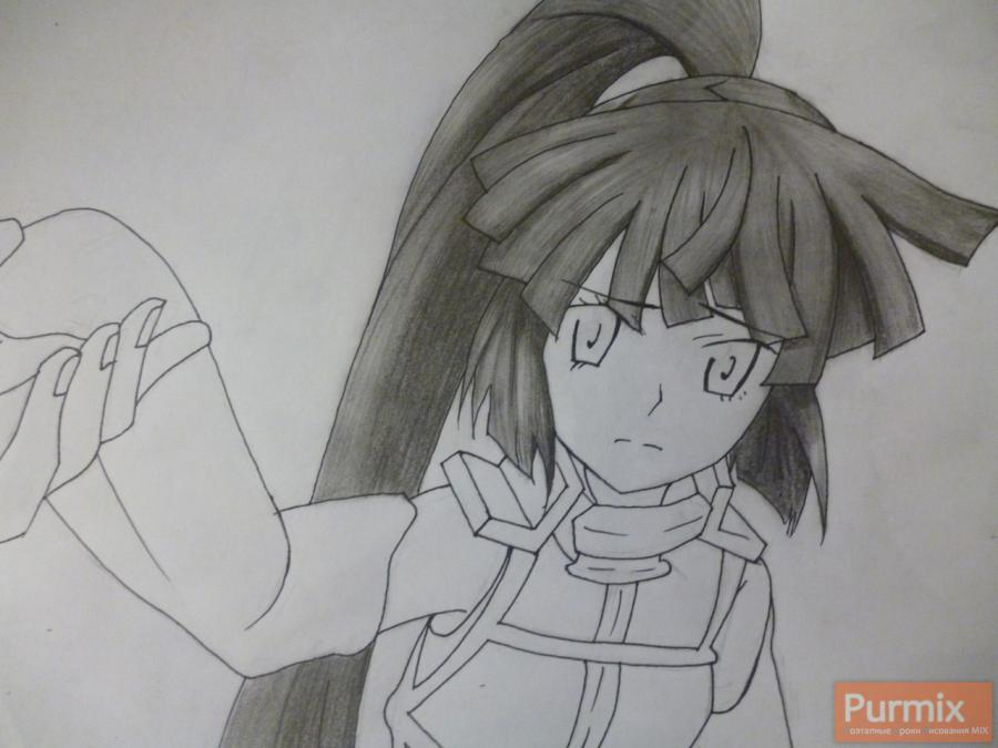 How to draw Naotsugu from an anime the Ravine the Horizon with a pencil 6
