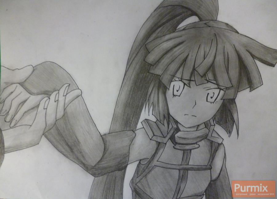 How to draw Naotsugu from an anime the Ravine the Horizon with a pencil 8