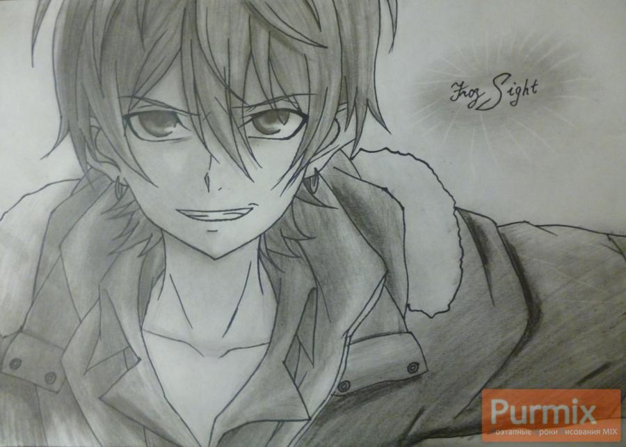 How to draw Makhiro Fuva from an anime the Storm of losses with a pencil