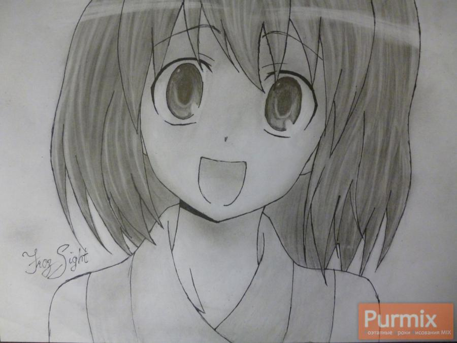 How to draw Minori Kusieda from Torador's anime with a pencil