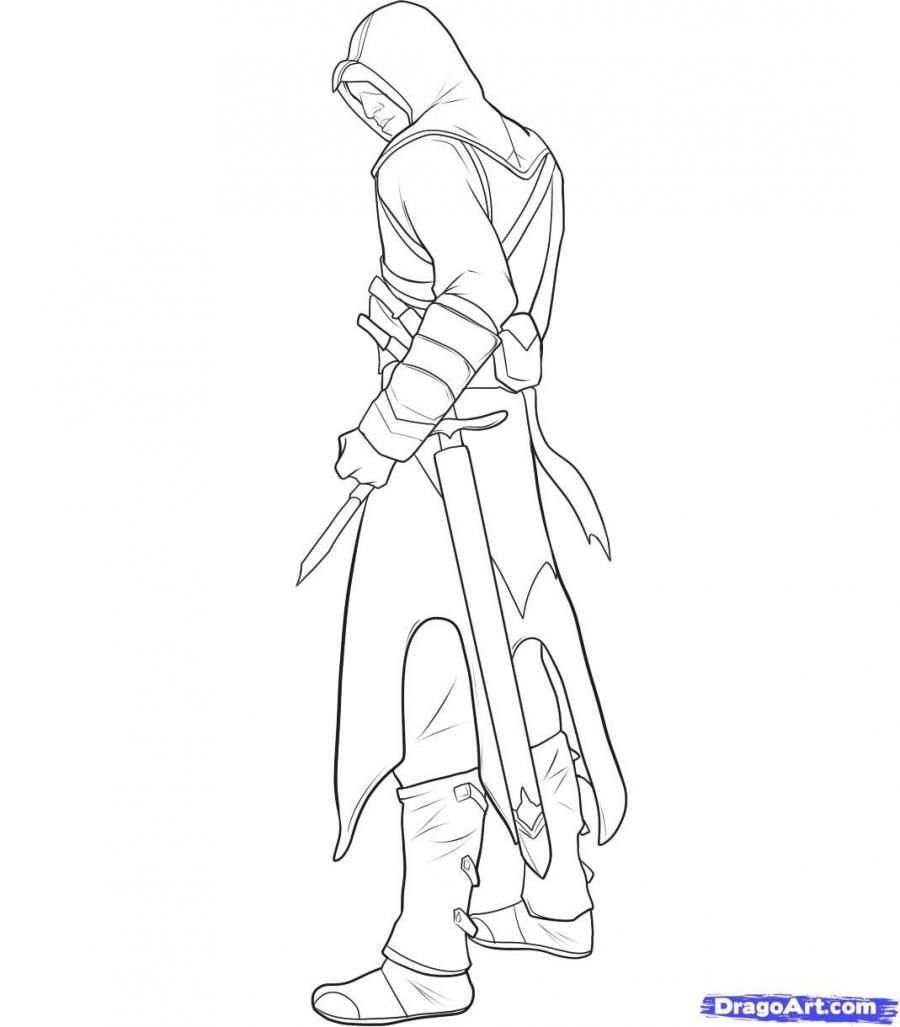 How to draw Altair from Assassins Creed with a pencil step by step